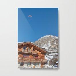 Paragliding in Alps in ski resort Metal Print
