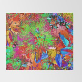 """ Kiwi Lifestyle"" - Pohutukawa NZ Bloom- Pop ART Throw Blanket"