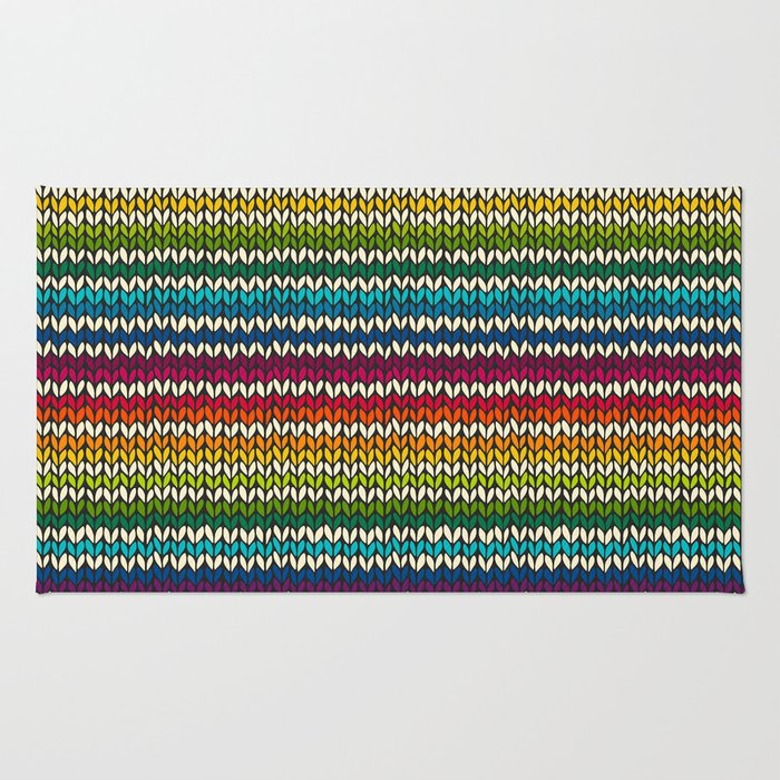 Rainbow knitted stripes Rug
