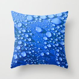 Raindrops on Blue Throw Pillow