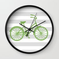 kermit Wall Clocks featuring kermit bike by Ann Gardner