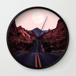 Road Red Moonrise Wall Clock