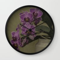 orchid Wall Clocks featuring Orchid by Steve Purnell