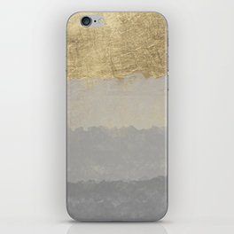 Geometrical ombre glacier gray gold watercolor iPhone Skin