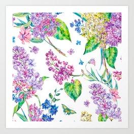 watercolor purple flowers Art Print