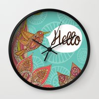 hello Wall Clocks featuring Hello by Valentina Harper
