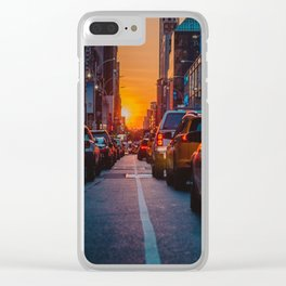 New York City Taxi Sunset (Color) Clear iPhone Case