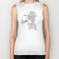 seattle Biker Tanks featuring Seattle Map by Claire Lordon