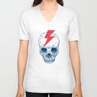 teeth V-neck T-shirts featuring Skull Bolt by Rachel Caldwell
