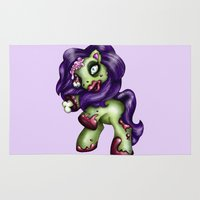 my little pony Area & Throw Rugs featuring Zombie My Little Pony by Hungry Designs
