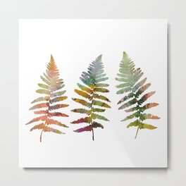 Watercolor colorful fern leaves vector illustration Metal Print
