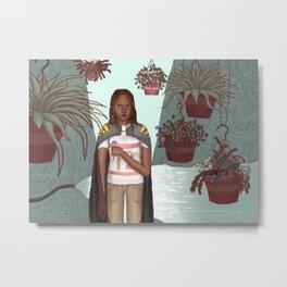 Girl with Plants Metal Print