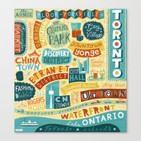 toronto Canvas Prints featuring Toronto by Linzie Hunter
