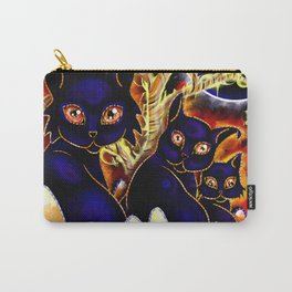 Three Halloween Cats Carry-All Pouch