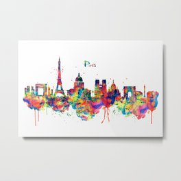 Paris Skyline Silhouette Metal Print