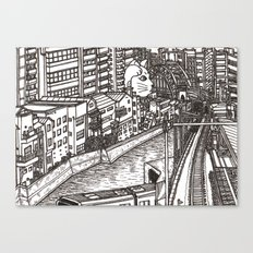 Downtown Beckoning Cat Canvas Print