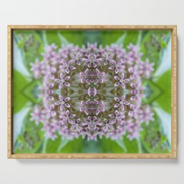 Kaleidoscope Pink Milkweed Flower Macro Photograph Serving Tray