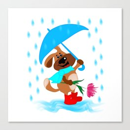 A dog with an umbrella and a flower is going to congratulate someone Canvas Print