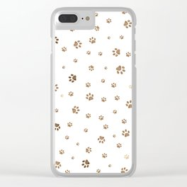 Trace brown doodle paw prints seamless pattern background Clear iPhone Case