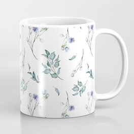 Spring Floral Bouquets Watercolor in Dusty Blue Coffee Mug