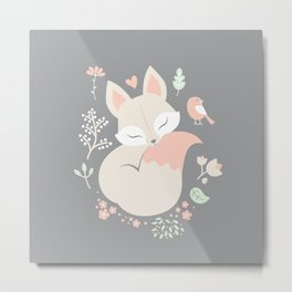 Sleeping Fox - grey pattern design Metal Print