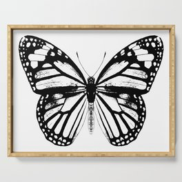 Monarch Butterfly | Vintage Butterfly | Black and White | Serving Tray
