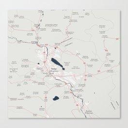 Minimalist Modern Map of Tbilisi, Georgia 2 Canvas Print