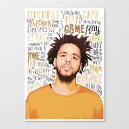 J Cole quote print / poster hand drawn type / typography Canvas Print