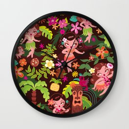 Hula Cuties Pattern Wall Clock