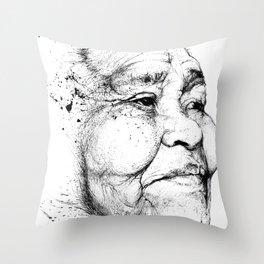 """Gabriela"" of the Kaweskar People B+W Throw Pillow"