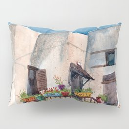 Herbs and blossom on Rhodian balcony Pillow Sham