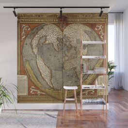Heart-shaped projection map Wall Mural