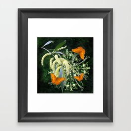 butterflies and wattle with green abstract bouquet Framed Art Print