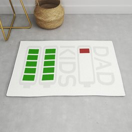 Dad Kids Tired Battery Low Energy Dad New Dad Gift Rug