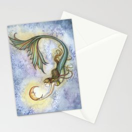 Deep Sea Moon Fantasy Mermaid Art Illustration by Molly Harrison Stationery Cards