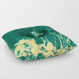 Yellow Birds on Vine Floor Pillow