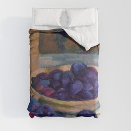 Still Life with Plums, Tuscany, Italy food and wine portrait painting by Apple Orchards and Red Foliage Vines of October landscape painting by Theo van Rysselberghe Comforters