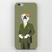 english bulldog iPhone & iPod Skins featuring English Bulldog by drawgood