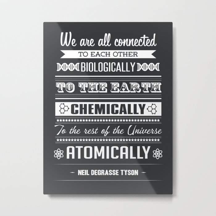 We Are All Connected (Black) Metal Print