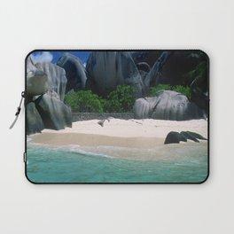 Seychelles Islands Breathtaking White Sand Beach and Boulders Laptop Sleeve