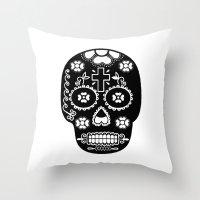 dia de los muertos Throw Pillows featuring DIA DE LOS MUERTOS by RIGOLEONART