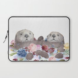 Sea Otters Holding Hands, Love Art Laptop Sleeve