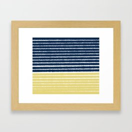 Gold and Navy Blue brush Strokes Framed Art Print