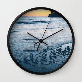 Piping Plovers at Sunset Wall Clock