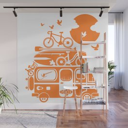 Funny family vacation camper Wall Mural