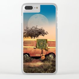summer sunset landscape with skull and guitar Clear iPhone Case