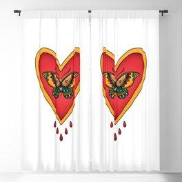 Bleeding Heart Butterfly Traditional American Tattoo Blackout Curtain