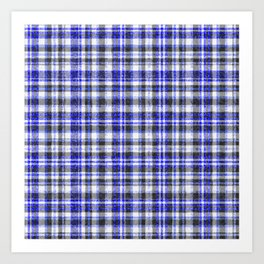 Blue White and Black Fuzzy Tartan Pattern Art Print