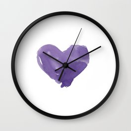 Colourful Hearts Watercolor on Paper Wall Clock