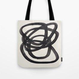 Mid Century Modern Minimalist Abstract Art Brush Strokes Black & White Ink Art Spiral Circles Tote Bag